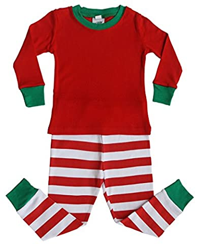 Holiday Red, Green, and White Striped Baby and Toddler Pajama Set-Plain (5)