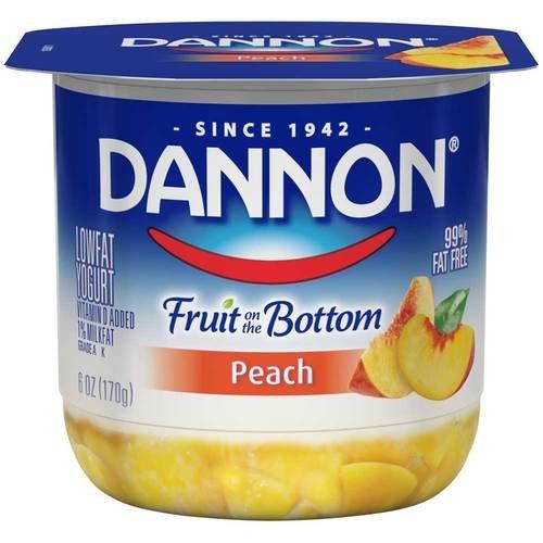 Dannon Fruit on the Bottom Peach Yogurt, 6 Ounce -- 12 per case.