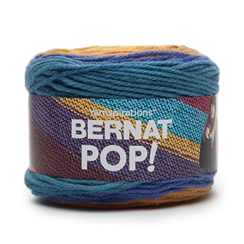 Knit Gold Medium Weight (Bernat POP! Yarn (4) Medium Gauge 100% Acrylic - 5oz - Gold Rush River - Machine Wash & Dry)