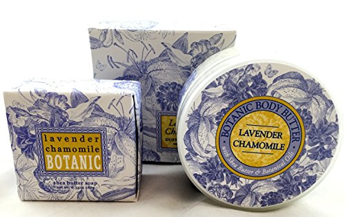 Greenwich Bay LAVENDER CHAMOMILE 3 Piece Beauty Gift Set of : BODY BUTTER, SPA SOAP, and DUSTING POWDER