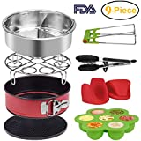 Accessories Set for Instant Pot Pressure Cooker of 5,6,8Qt ,9-Pcs-Steamer Basket, Silicone Egg Bite, Non-stick Cake Pan, Steaming Rack, Silicone Cooking Pot Mitts and Kitchen Tong