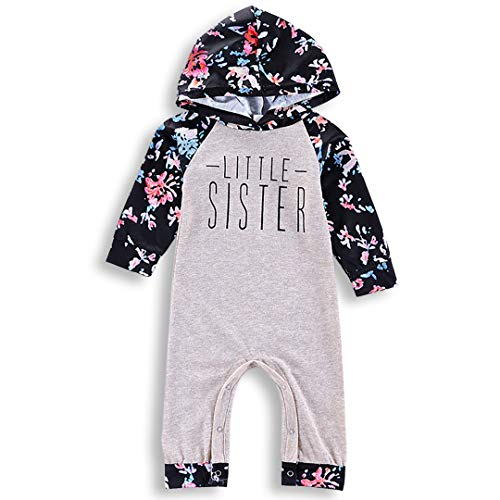PVSECTOR Baby Girls Little Big Sister Outfits Floral Romper Long Sleeve Hoodies (White, ()