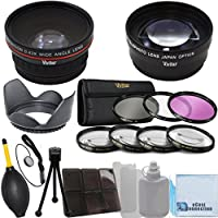 Vivitar 52mm 0.43x Wide Angle Lens + 2.2x Telephoto Lens + 3 Pieces Filter Set + 4Pc Close Up Lens + Lens Hood with Deluxe Lens Accessories Kit for all Canon, Nikon, Pentax, Olympus, Fujifilm, Panasonic, Sony Cameras & Camcorders with 52MM Lens thread