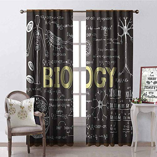 (Gloria Johnson Educational Wear-Resistant Color Curtain Black Chalkboard Biology Hand Written Symbols School Classroom Waterproof Fabric W52 x L72 Inch Black Brown Pale Yellow)