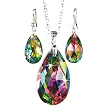 Rainbow Teardrop Jewelry Set - Faceted Aurora Borealis Necklace and Earrings