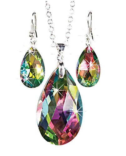 (The Paragon Rainbow Teardrop Jewelry Set - Faceted Aurora Borealis Necklace and Earrings)