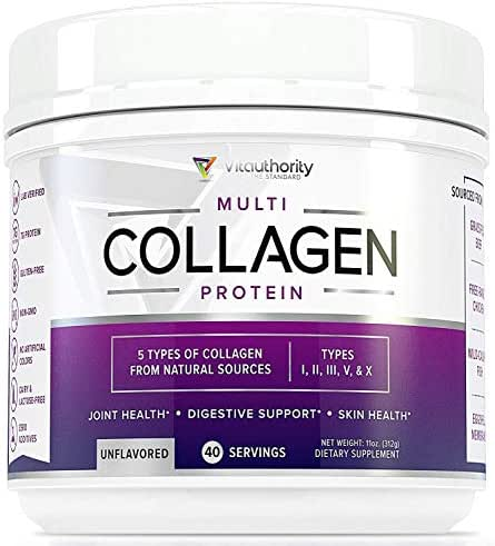 Multi Collagen Peptides Powder: 40 srv Anti Aging Collagen Powder with Hydrolyzed Collagen Protein from Grass-Fed Beef, Wild Marine, Chicken, Eggshell, Types I II III V X Keto Collagen Supplement