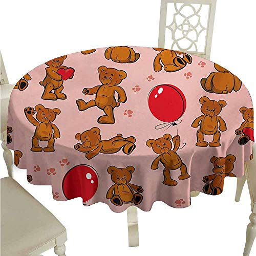 duommhome Kids Durable Tablecloth Vintage Teddy Bear Pattern Paws Footprint with Balloon and Hearts Party Easy Care D39 Red Pale Pink Cinnamon ()