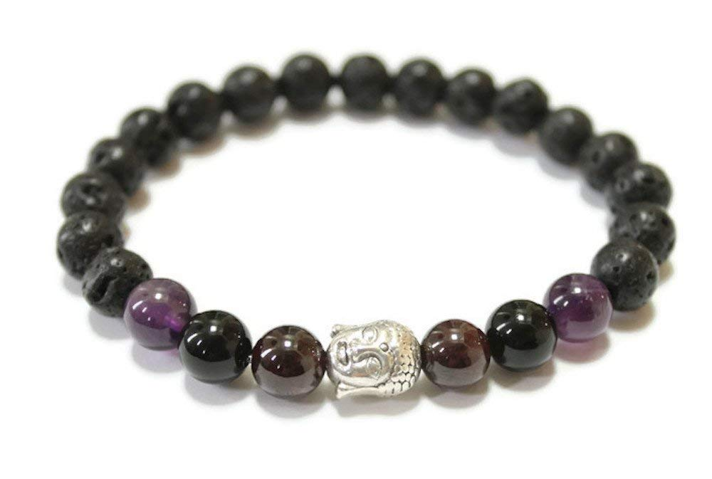 Stress Relief Garnet Essential Oil Diffuser Sleep aid Amethyst Black Onyx Lava stones Unisex Gemstone Aromatherapy Buddha Bracelet for General Good Health and Well-being