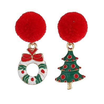 Amazon Com Leono Christmas Wreath Earrings Size 4 21 7cm Stud
