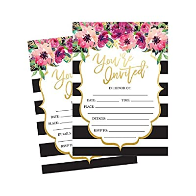 50 Fill In Invitations, Wedding Invitations, Bridal Shower Invitations, Rehearsal Dinner, Dinner Invitations, Baby Shower Invitations, Bachelorette Party Invitations, Engagement, Sweet 16, Graduation