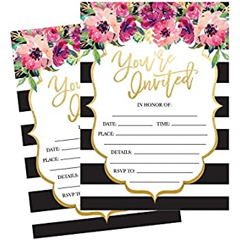 amazon com 50 fill in invitations wedding invitations bridal