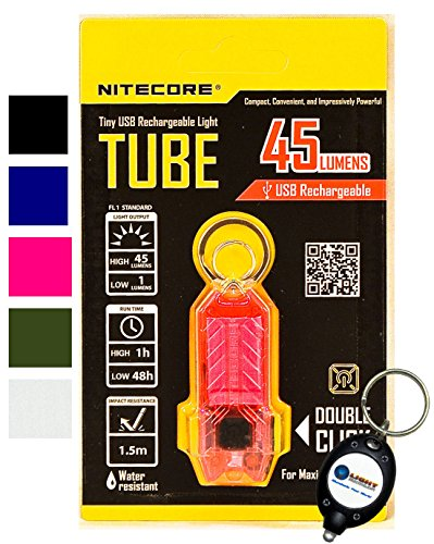 NEW NITECORE TUBE Tiny USB Rechargeable LED Light 45 Lumens 5 COLORS AVAILABLE - BLACK, GREEN/OLIVE, PINK, BLUE, CLEAR/TRANSPARENT w/ Lightjunction Keychain light (Pink) (Ring Mens Transparent)