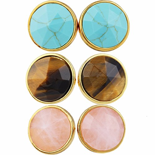 Tigers Round Crystal Earrings - SUNYIK Green Howlite Turquoise/Tiger's Eye Stone/Rose Quartz Crystal Point Round Faceted Stud Earrings,Pack of 3