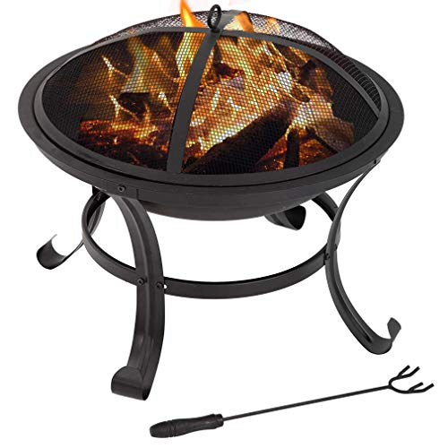 BestMassage 22″ Outdoor Fire Pit Round FirePit Metal Fire Bowl Fireplace Backyard Patio Garden Stove for Camping, Outdoor Heating, Bonfire, Picnic