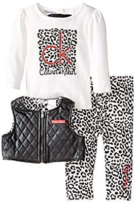 Calvin Klein Baby Girls' Vest with Tee and Animal Print Pants