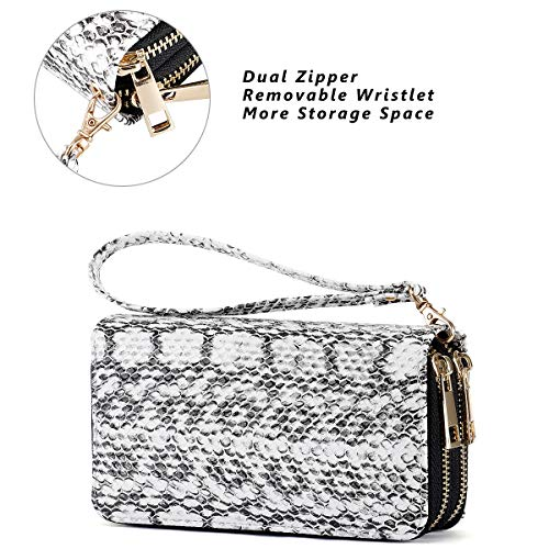 HAWEE Cellphone Wallet Dual Zipper Wristlet Purse with Credit Card Case/Coin Pouch/Smart Phone Pocket Soft Leather for Women or Lady, SnakeSkin White by HAWEE (Image #3)