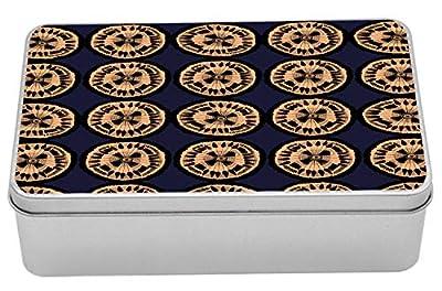 "Ambesonne Abstract Metal Box, Rhythmic Ethnic Circles Motifs Woodcut Look Modern Illustration Print, Multi-Purpose Rectangular Tin Box Container with Lid, 7.2"" X 4.7"" X 2.2"", Dark Night Blue Peach"