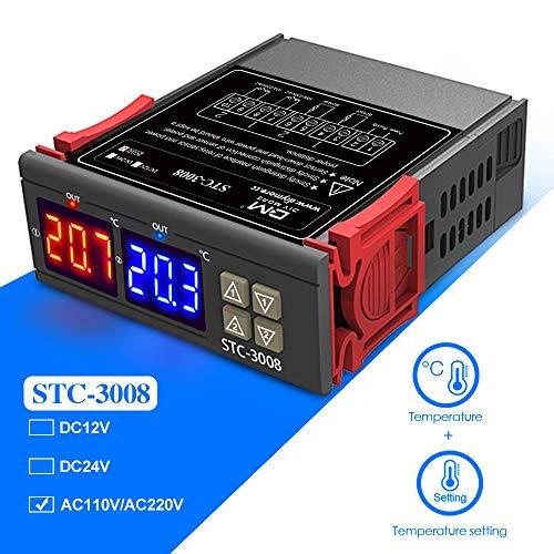 STC-3008 Termostato Intelligente Digitale Regolatore di Temperatura Regolabile con Doppio NTC 12V Filfeel wosume Regolatore di Temperatura