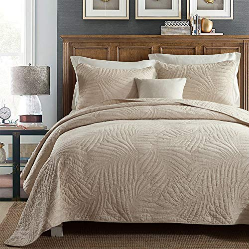 """Quilt Set King, Cotton World Li Premium 3 Piece Oversized Coverlet Set as Bedspread Bed Cover Reversible Luxury Light Weight 106"""" x 98""""/ Pillow Shams 20"""" x 36""""- Wrinkle & Fade Resistant-King/CA King"""