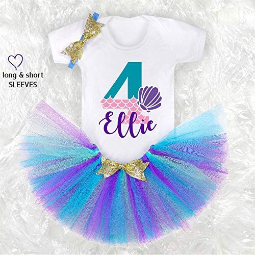 Mermaid Baby Girl Outfit 4th sir/ène tenue danniversaire Birthday Girl Tutu Cake Smash Outfit Birthday Girl Outfit CHOOSE COLOR!
