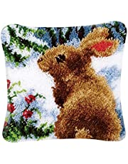 DIY Latch Hook Kits Throw Pillow Cover Cute Rug Pattern Printed 16X16 Inch, Crochet Needlework Crafts for Kids and Adults
