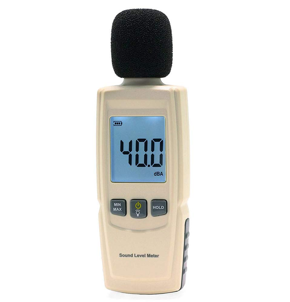 Sound Decibel Meter Digital Mini Sound Pressure Level Meter Audio Noise Measurement 30-130dBA - Accuracy Within +/-1.5dBA, Max/Min Hold Function, Large Backlit LCD Display