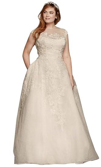 cdb8aea5967e Oleg Cassini Cap Sleeve Plus Size Wedding Dress Style 8CWG730, Ivory, 22W