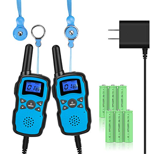 Wishouse 2 Rechargeable Walkie Talkies for Kids with Charger Battery, Two Way Radio Family Talkabout for Adult Cruise Ship Long Range, Outdoor Camping Hiking Fun Toys Birthday Gift for Girls Boys Blue