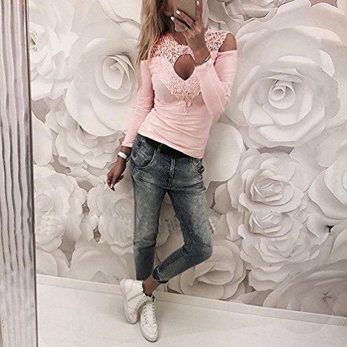 Rosa Maglietta Top Lunga Elegante Casual Maglia Donna Camicetta Openwork Blusa Collo BYSTE Shirt T Camicia Cucitura Pizzo O Manica xfwpSnqU6