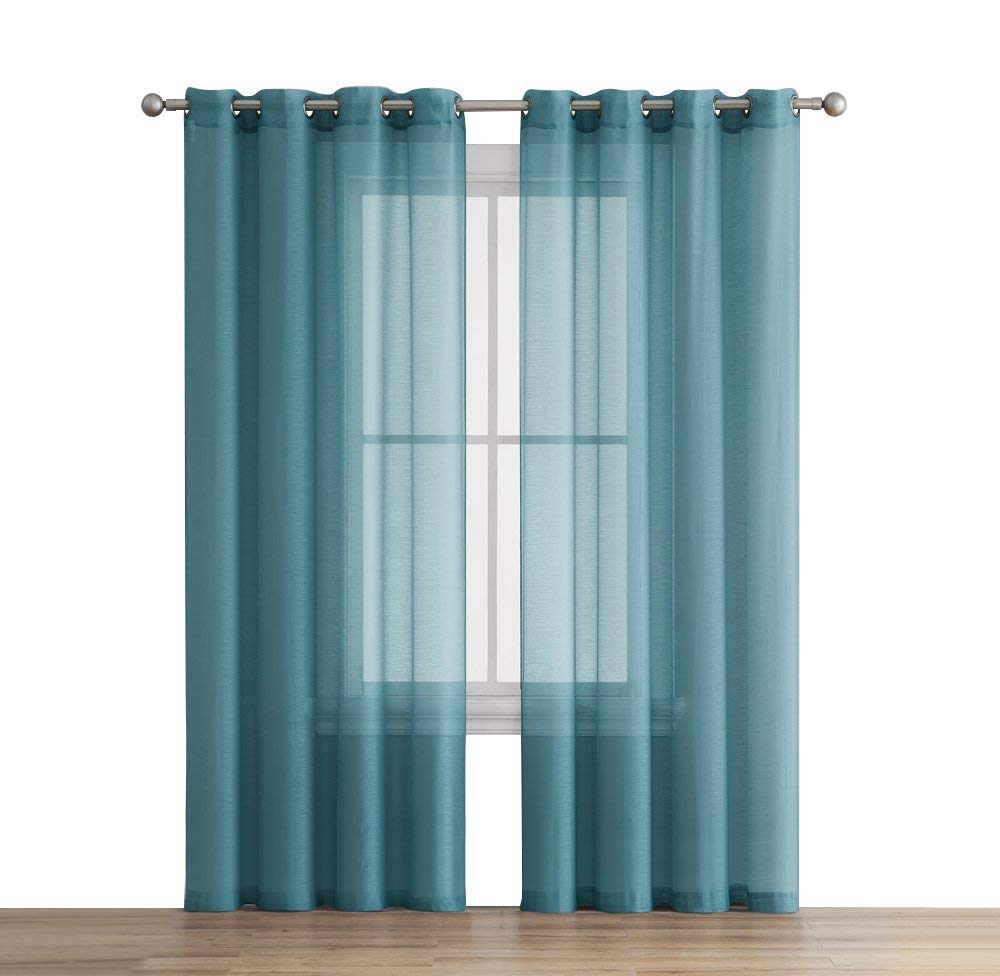 HLC.ME 2 Piece Premium Sheer Voile Window Grommet Short Curtain Panels for Bathroom & Kitchen - 54