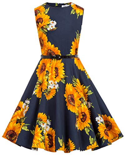 Kate Kasin Girls Sleeveless Vintage Print Swing Party Dresses 6-15 Years (7-8 Years, K250-30) (Best Outfits For Back To School)