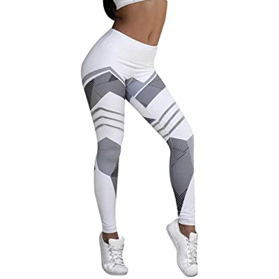 Women's Geometry Print High Waist Capris Fitness Workout Leggings Stretch Sports Athletic Yoga Pants