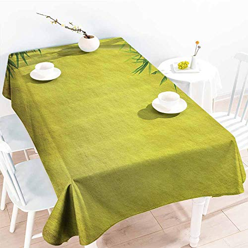 Rectangular Tablecloth Bamboo House Decor Collection Silhouette of Bamboo Branches Timber Climatic Herbs Nature Classic Art Print Yellow Green Easy to Clean W52 xL70