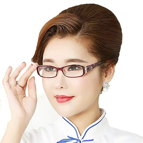 (Glasses Women's Anti-Fatigue Reading, Elderly HD Resin Lightweight Reading, red PC Rectangular Full Frame Spring Hinge)