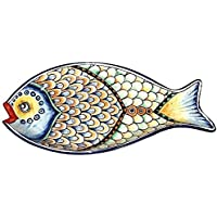 CERAMICHE D'ARTE PARRINI - Italian Ceramic Serving Tray Bowl Fish Art Pottery Painted Made in ITALY Tuscan