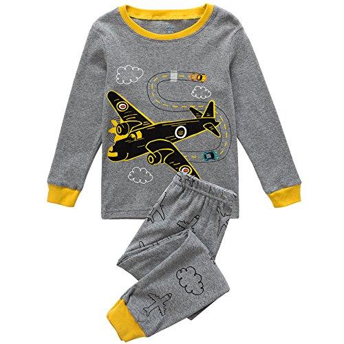 Babycop Boys Pajamas Plane Little Kids PJS Set 100% Cotton Toddler Sleepwears Size 5