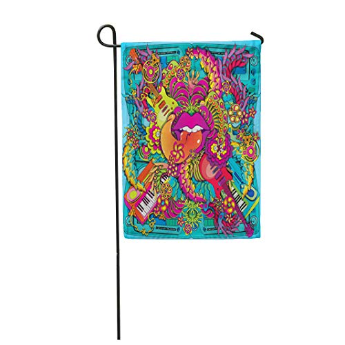 Semtomn Garden Flag 28x40 Inches Print On Two Side Polyester Colorful Hippie Vibrant Psychedelic Music Lips Pop Swirl Kitsch Synth Home Yard Farm Fade Resistant Outdoor House Decor Flag