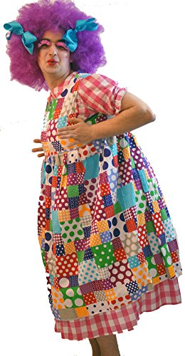 Pantomime-Ugly Sister-Panto Dame WIDOW TWANKY Patchwork & Wig Men's Costume - From Sizes Small-4XL (SMALL)