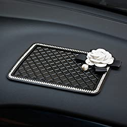 Anti-Slip Dash Mat With Crystal Pearl Flower