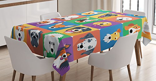 Ambesonne Dog Lover Decor Tablecloth, Dog Breeds Profiles Pets Shepherd Terrier Labrador Domestic Animals Illustration, Rectangular Table Cover for Dining Room Kitchen, 52x70 inch, Purple Green by Ambesonne
