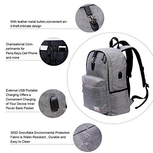 Stuo Waterproof Laptop Backpack USB Charging Port Lightweight Business Travel College Rucksack Bag Computer Backpack Men Women Student Black by Stuo (Image #2)