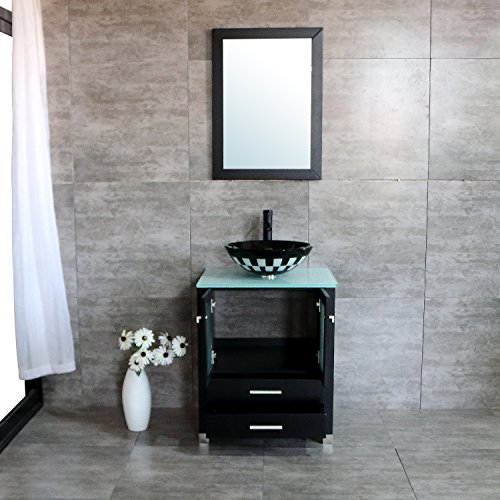 24' Bathroom Sink Basin (BATHJOY 24'' Modern Wood Bathroom Vanity Cabinet Round Tempered Glass Vessel Sink Bowl Faucet Drain Combo Design with Mirror)