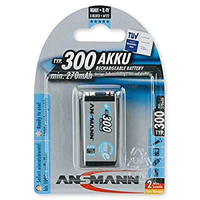 ANSMANN Rechargeable 9V Battery 300mAh pre-charged Low Self Discharge 9Volt NiMH Rechargeable Battery