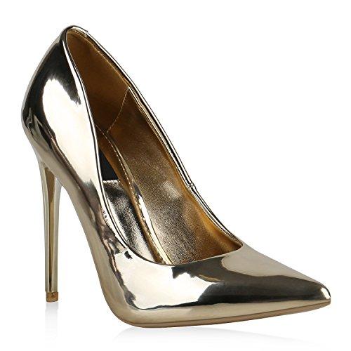 Stiefelparadies Spitze Damen Pumps Stiletto High Heels Lack Leder-Optik Schuhe Elegante Absatzschuhe Party Abendschuhe Abiball Flandell Gold