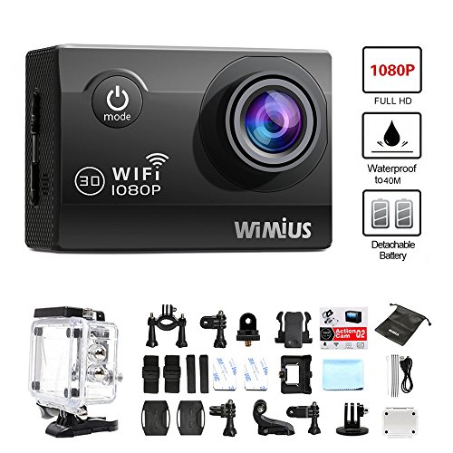 WiMiUS-Q2-Black-1080P-Wifi-98ft-Waterproof-Action-Camera-With-HD12-MP-170-Degree-Wide-Angle-20-Inch-LCD-Screen2-Pieces-Batteries30-All-In-One-Kit-Set-SD-Card-Exclude