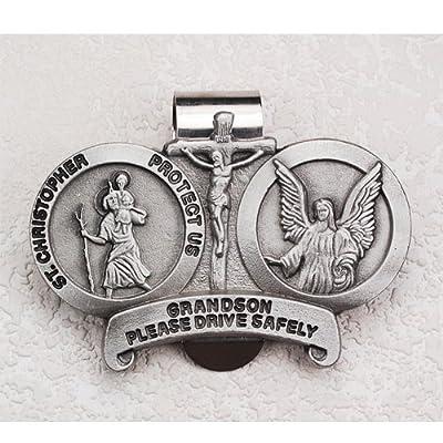 St Christopher Medal Pendant Grandson Visor Clip Visor Clips