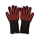 BBQ Oven Gloves, Flexible Heat Resistant Grill Gloves, Insulated Silicone Oven Mitts For Grilling, Full Finger, Hand, Wrist Protection Cooking Gloves