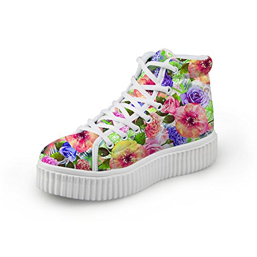 Bigcardesigns Women Classical Multi-Color Floral Design Casual Outdoor Flat Shoes Sneakers Multi-color5 1vVW6