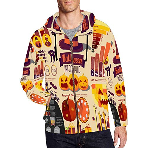 InterestPrint Men's Pocket Pullover Full Zip Hoodie Sweatshirt Set of Halloween Infographic Elements with Icons XXXL -